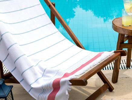 Celestiel Armürlü Plaj Havlusu - Mavi / Pembe - 75x150 cm