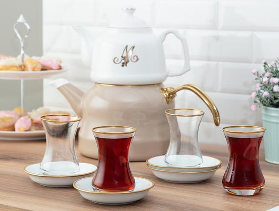 Yolande 8'li Çay Seti - Ağız Gold - 155 ml