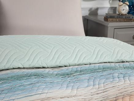 Delane Tek Kişilik Çok Amaçlı Yatak Örtüsü - Turuncu / Mavi