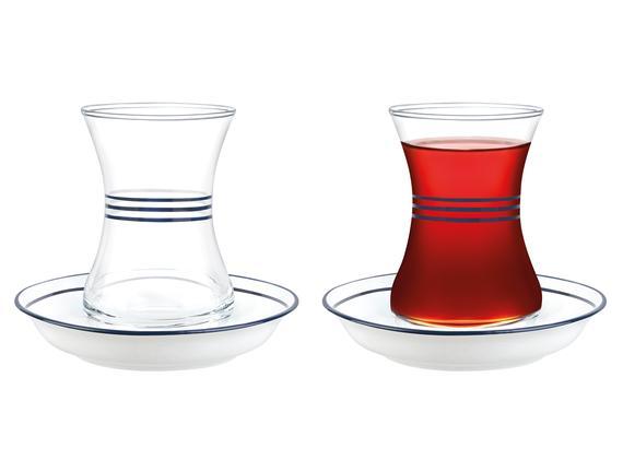 Yolande-Çoklu Gövde Koyu Lacivert Dekorlu 8'li Çay Seti - 155 ml