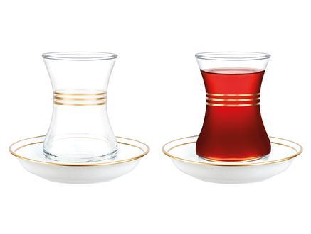 Yolande-Çoklu Gövde Altın Yaldızlı 8'li Çay Seti