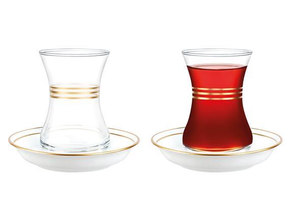 Yolande-Çoklu Gövde Altın Yaldızlı 8'li Çay Seti - 155 ml