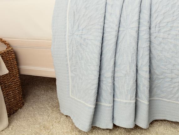 Jacinthe Çift Kişilik Yatak Örtüsü - Mavi