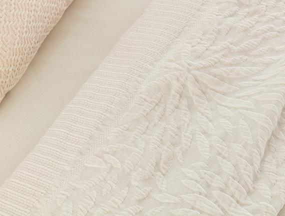 Jacinthe Tek Kişilik Yatak Örtüsü - Beyaz