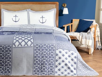 Marine King Size Yatak Örtüsü Takımı - Beyaz/Indigo