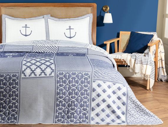 Marine King Size Yatak Örtüsü - Beyaz / Indigo