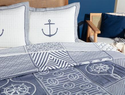 Marine Çift Kişilik Yatak Örtüsü  Takımı - Beyaz/Indigo