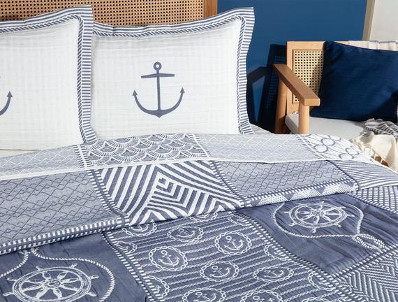 Marine Tek Kişilik Yatak Örtüsü - Beyaz / Indigo