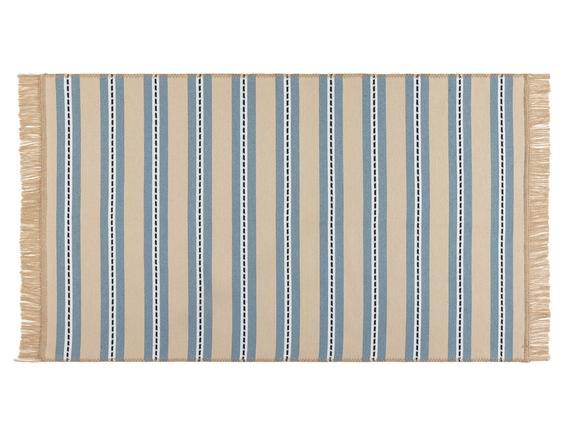 Leonore Saçaklı Dokuma Kilim - Bej / Mavi - 120x180 cm
