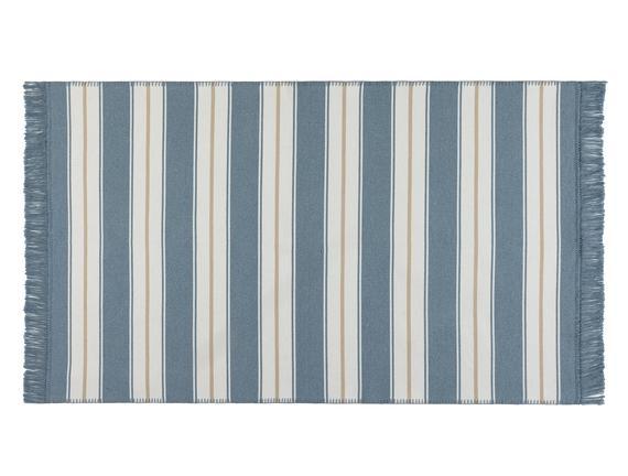 Candide Saçaklı Dokuma Kilim  - Mavi /  Bej - 120x180 cm