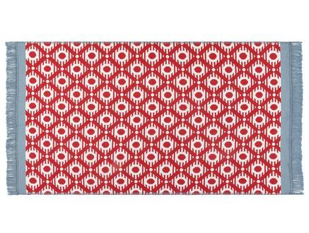 Bonnie Saçaklı Dokuma Kilim - Kırmızı / Mavi - 120x180 cm