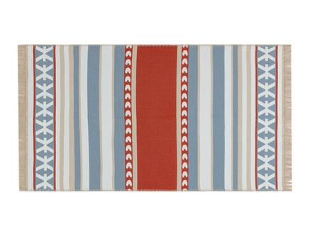 Afrodille Saçaklı Dokuma Kilim - Bej / Mavi - 120x180 cm