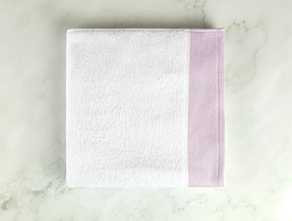 Viviane Banyo Havlusu - Beyaz / Mürdüm - 70x140 cm
