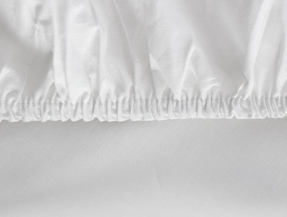 Eloise Ranforce Çift Kişilik Lastikli Çarşaf - Beyaz