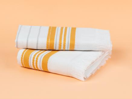 Evony Armürlü Yüz Havlusu - Beyaz / Sarı - 50x76 cm