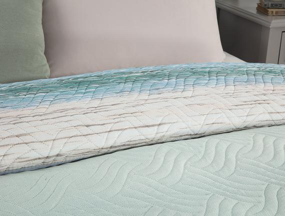 Delane King Size Baskılı Yatak Örtüsü - Turuncu/Mavi