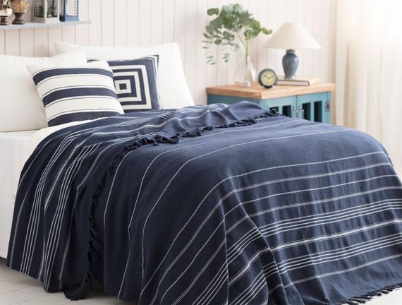 Alegron Çift Kişilik Yıkamalı Yatak Örtüsü - İndigo / Beyaz