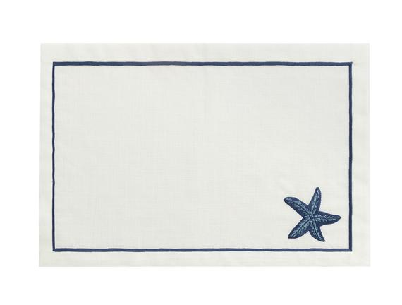 Nicola 2'li Amerikan Servis - Beyaz / İndigo - 32x48 cm