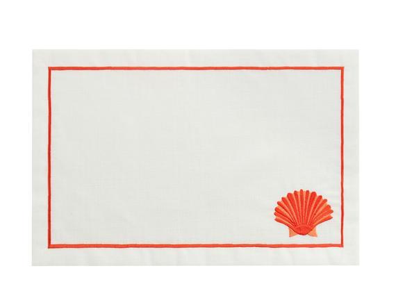 Victorina 2'li  Amerikan Servis - Beyaz/Mercan - 32x48 cm