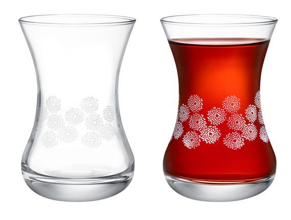 Lavem-White Flowers 6'lı Çay Bardağı Seti - 155 ml