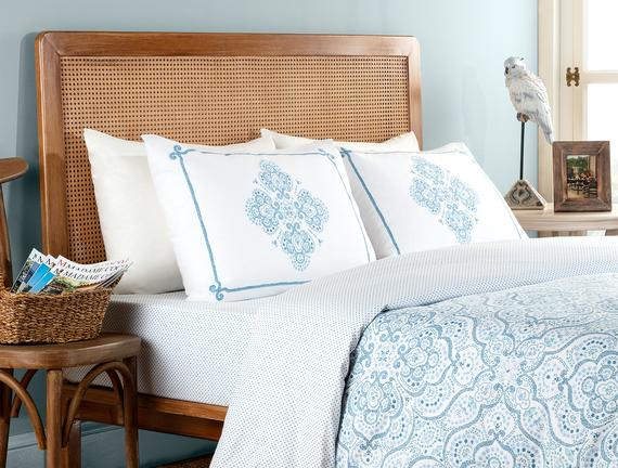 Ancre King-Size Printed Ranforce Duvet Cover Set - Turquoise