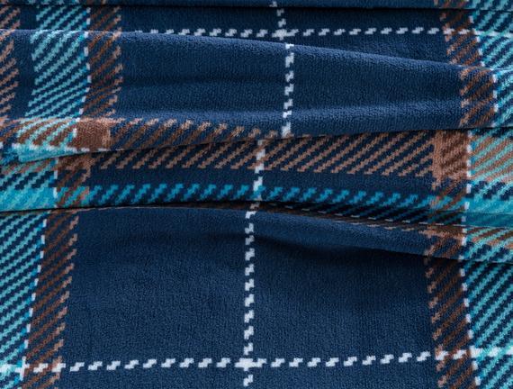 Antonin Welsoft Tek Kişilik Baskılı Battaniye - Koyu Mavi