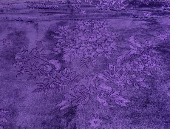Jardin Fleuri Çift Kişilik Emboss Battaniye - Mor