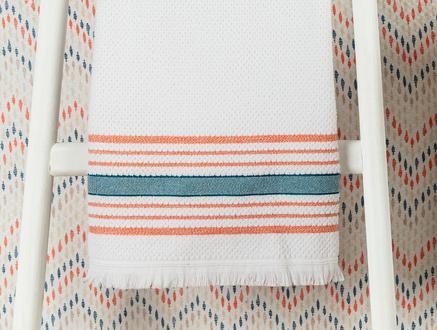 Annecy Banyo Havlusu - Beyaz / Turuncu - 70x140 cm