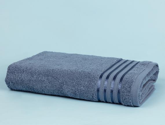 Maynor Bordürü Floşlu Banyo Havlusu - Mavi - 70x140 cm