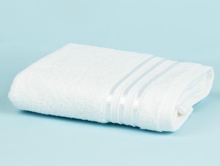 Maynor Bordürü Floşlu Yüz Havlusu - Beyaz - 50x80 cm