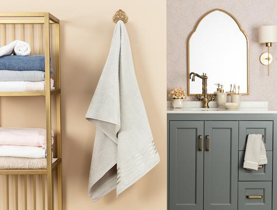Maynor Bordürü Floşlu Banyo Havlusu - Açık Gri - 70x140 cm