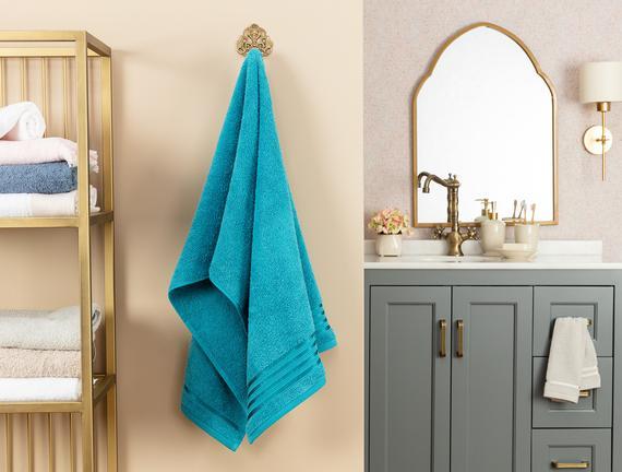 Maynor Bordürü Floşlu Banyo Havlusu - Koyu Mint Yeşili - 70x140 cm