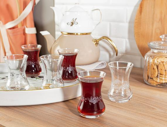 Lavem-Nostalgic Flowers 6'lı Çay Bardağı Seti 155 ml