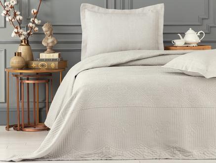 Jeanne King Size Yatak Örtüsü  Takımı - Taş