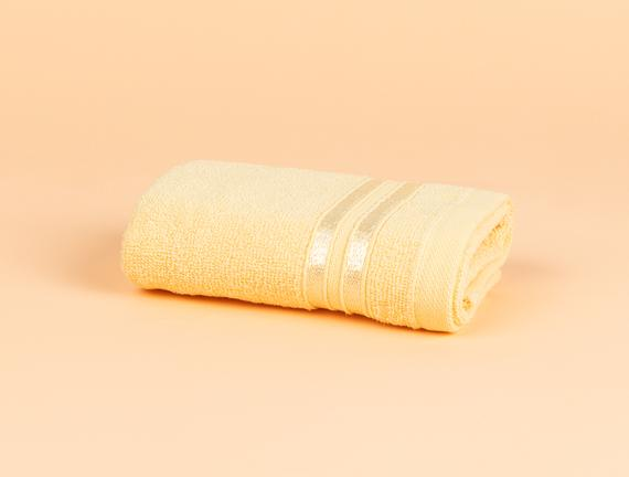 Maynor Bordürü Floşlu El Havlusu - Açık Sarı - 30x45 cm