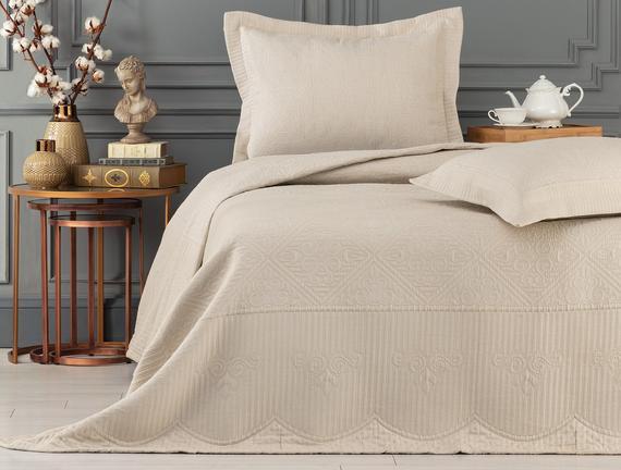 Jeanne King Size Yatak Örtüsü  Takımı - Bej