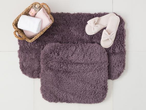 Sheep Banyo Paspası - Koyu Mürdüm - 50x80+45x50 cm