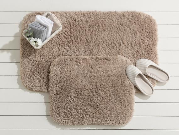 Sheep Banyo Paspası - Toprak - 60x100+50x60 cm