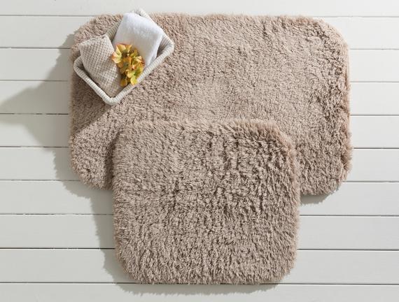 Sheep Banyo Paspası - Toprak  - 50x80+45x50 cm