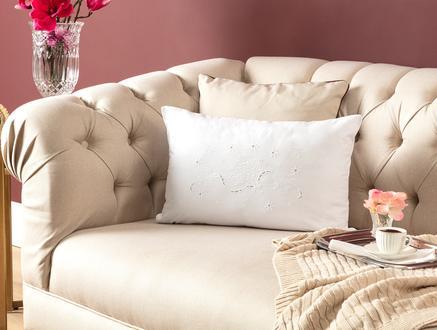 Desen Kırlent Kılıfı - Beyaz - 35x50 cm