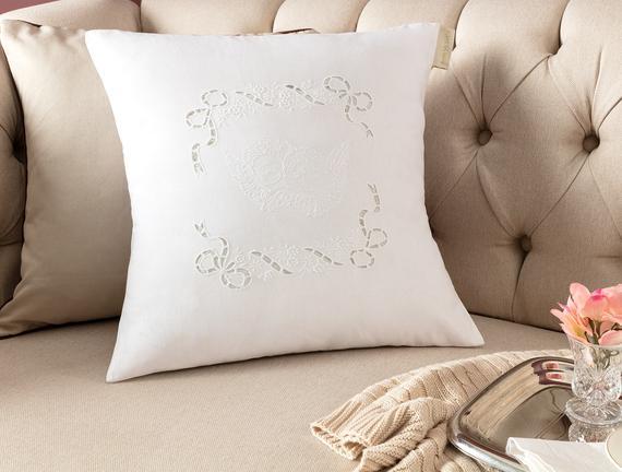 Desen Kırlent Kılıfı - Beyaz - 40x40 cm