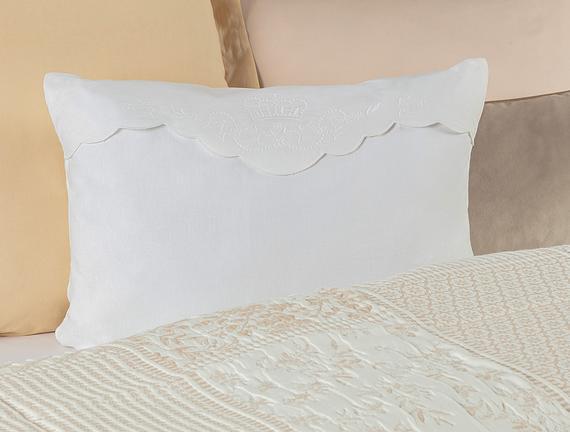 Desen Kırlent Kılıfı - Beyaz - 40x60 cm