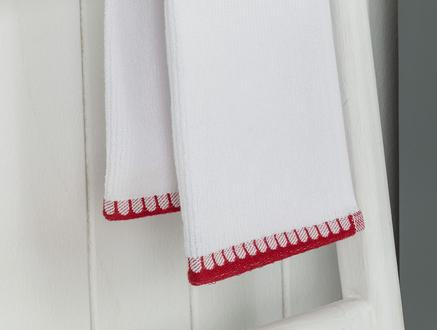 Aleon 2'li El Havlusu - Beyaz / Bordo - 30x45 cm